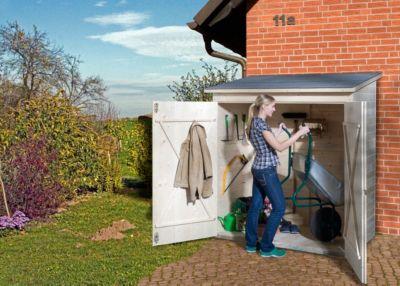 Weka Terrassenschrank mit Flachdach und Doppeltür, natur Größe 2