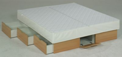 Ocean Mono Wasserbett Deluxe mit Schubladen, 200 x 200 cm, buchefarben, F5