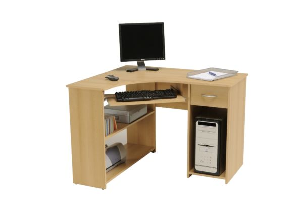 pc ecktisch max samerbergbuche schreibtisch jugendschreibtisch computertisch. Black Bedroom Furniture Sets. Home Design Ideas