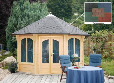 wolff finnhaus pavillon capri de luxe 3 5 farbe naturbelassen dachschindel rot schwarz. Black Bedroom Furniture Sets. Home Design Ideas