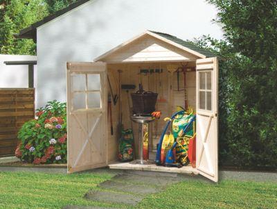 Weka Terrassenschrank mit Satteldach und Doppeltür Größe 2, natur