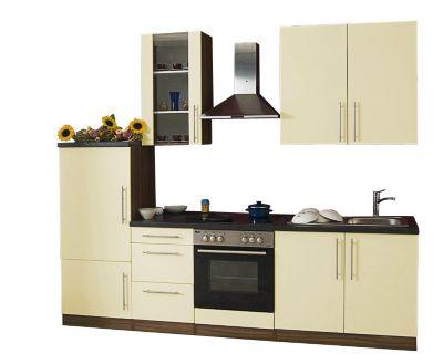 Küchenzeile Cucina inkl. Elektrogeräte - 270 cm, Vanille