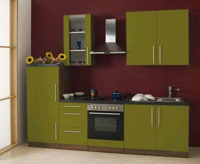 Küchenzeile Cucina inkl. Elektrogeräte - 270 cm, Olive