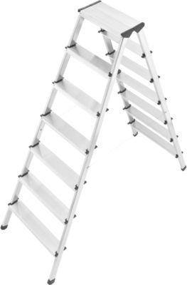 L90 Alu-Sicherheits-Doppelstufenleiter - 2 x 7 Stufen