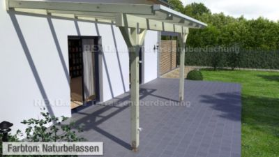 REXOcomplete 606 x 200 cm Terrassendachbausatz mit Holzunterkonstruktion Nussbaum