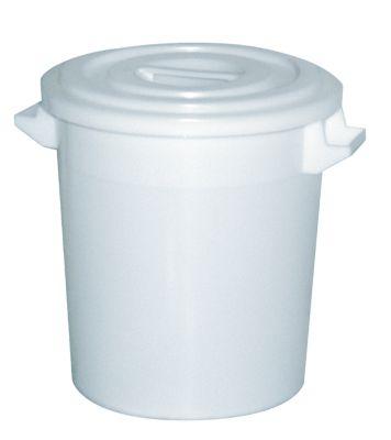 BRB Lagertechnik BRB Kunststofftonne 100 Liter mit Deckel, weiß