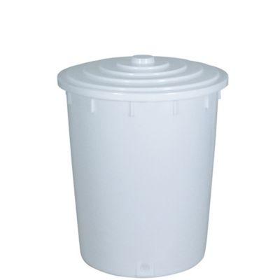 BRB Lagertechnik BRB Kunststofftonne 150 Liter mit Deckel, weiß