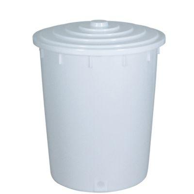 BRB Lagertechnik BRB Kunststofftonne 200 Liter mit Deckel, weiß
