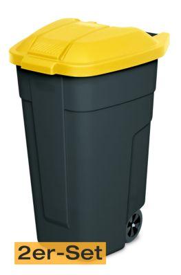 BRB Lagertechnik BRB Mülltonne 100 Liter VE: 2 Stück, anthrazit/gelb