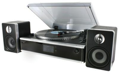 PL 875 USB - Musikcenter mit Plattenspieler silber- sw