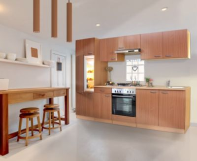 Respekta Küchenzeile LBKB270BBMA 270 cm ohne Geräte Buche Nachbildung