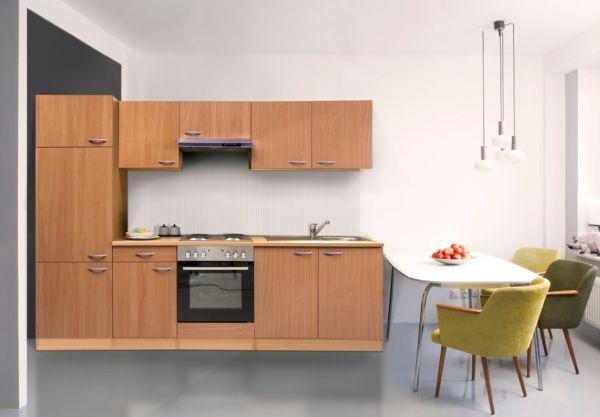 k chenzeile 270 cm buche nachbildung einbauk che komplettk che k che ebay. Black Bedroom Furniture Sets. Home Design Ideas
