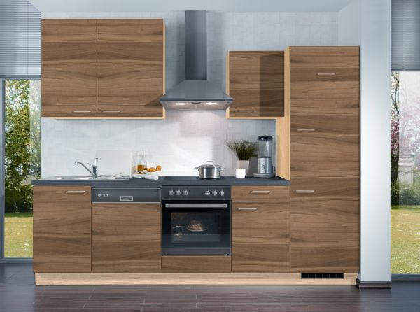 express k chen k chenzeile plan 280 cm nussbaum nachbildung k chenblock k che ebay. Black Bedroom Furniture Sets. Home Design Ideas