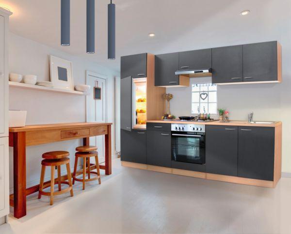 Küchenzeile 270 Cm Buche-grau , Einbauküche, Küche