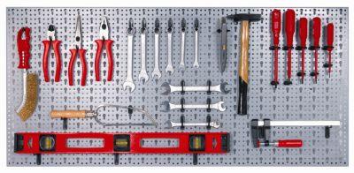 Alutec  Werkzeugwand Stahlblech mit 44 Kunststoffhaken