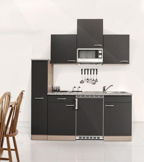 Küchenzeile 180 cm Buche grau Nachbildung, Mikrowelle, Singleküche, Studenten eBay