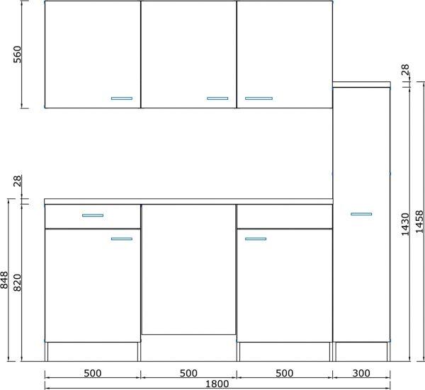 k chenzeile 180 cm wei b rok che minik che studentenk che singlek che ebay. Black Bedroom Furniture Sets. Home Design Ideas