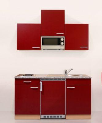 Respekta Küchenzeile KB150BRMI 150 cm Rot-Buche Nachbildung