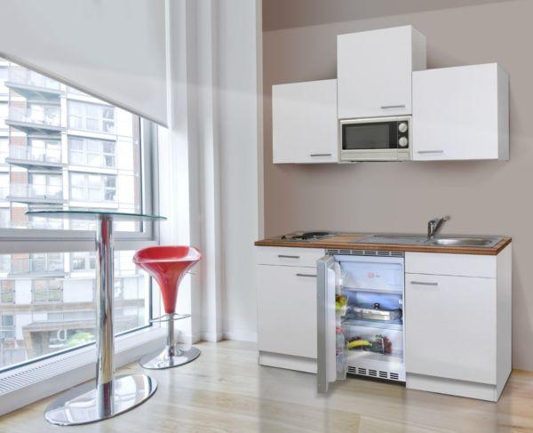 k chenzeile 150 cm wei inkl mikrowelle b rok che minik che singlek che ebay. Black Bedroom Furniture Sets. Home Design Ideas