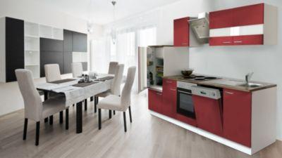 Respekta Küchenzeile KB280WRS 280 cm Weiß - Rot | Küche und Esszimmer > Küchen | Metall - Edelstahl | Respekta kitchen economy