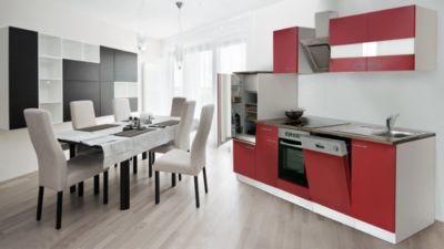 Respekta Küchenzeile KB280WRSC 280 cm Weiß - Rot mit Glaskeramik