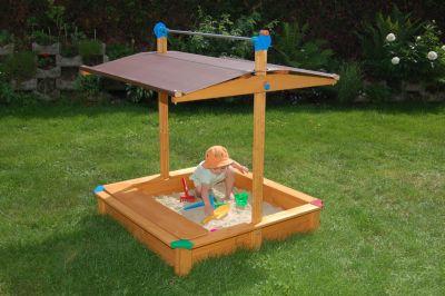 Sandkasten Maxi mit Spielzeuglade und absenkbarem Dach