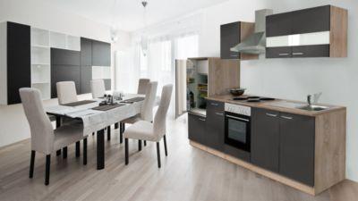 Respekta Küchenzeile KB270ESG 270 cm Grau-Eiche Sägerau Nachbildung