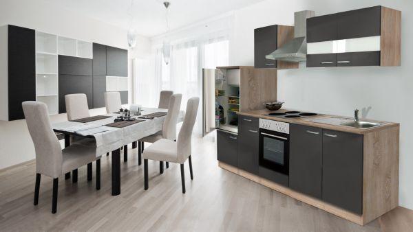 Respekta kuchenzeile kb270esw 270 cm eiche sagerau for Komplett küchen küchenzeile