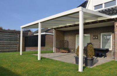 Terrassenüberdachung 600x400 creme aus Aluminium inkl. Statik und Polycarbonat-Dacheindeckung