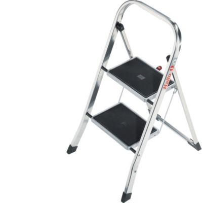HAILO K30 Aluminium-Klapptritt mit 2 Stufen - SicherheitsbÃ1/4gel, groÃen Stahlstufen und Anti-Rutschmatten