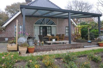 Terrassenüberdachung 600x400 anthrazit aus Aluminium inkl. Statik und Polycarbonat Dacheindeckung