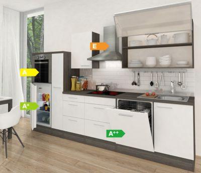 Respekta Premium Küchenzeile RP310HEW 310 cm Weiß-Eiche Grau Nachbildung