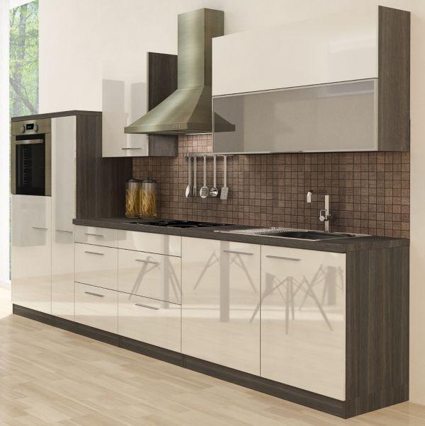 Küche Weiß Eiche Grau: Küchenzeile Premium 310cm Eiche Grau Nachb.,Backofen Oben