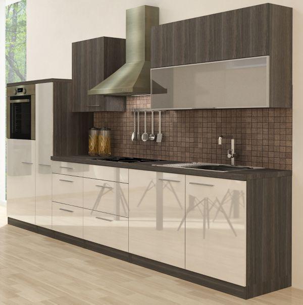 Küchenzeile Premium 310cm Eiche grau Nachb ,Backofen oben, vers Farben, Küche eBay