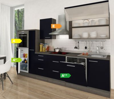 Respekta Premium Küchenzeile RP310HES 310 cm Schwarz-Eiche Grau Nachbildung