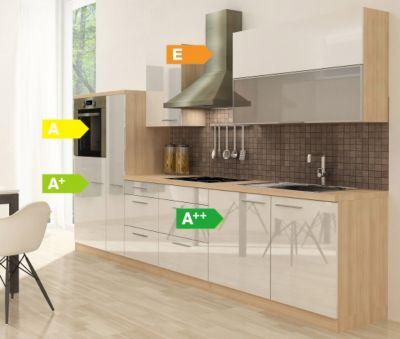 Respekta Premium Küchenzeile RP310HAW 310 cm Weiß-Akazie Nachbildung