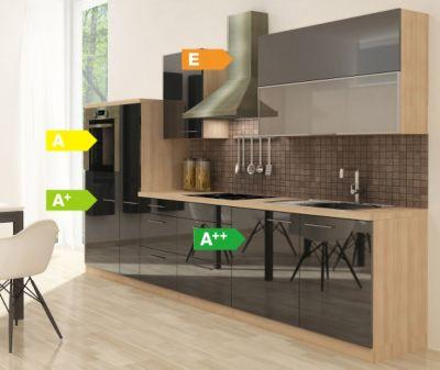 Respekta Premium Küchenzeile RP310HAS 310 cm Schwarz-Akazie Nachbildung