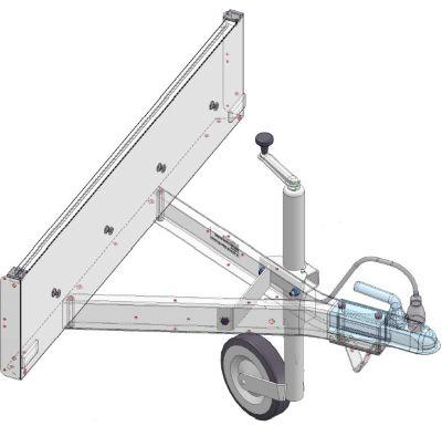Stützrad inkl. Traverse, Felge und Befestigung für Mini 350