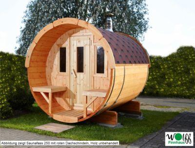 Wolff Finnhaus Saunafass 250 komplett montiert, rote Dachschindeln