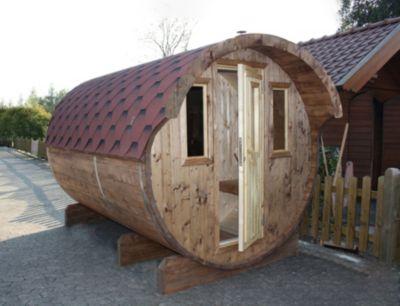 Wolff Finnhaus Saunafass 330, 2 Räume komplett montiert, rote Dachschindeln
