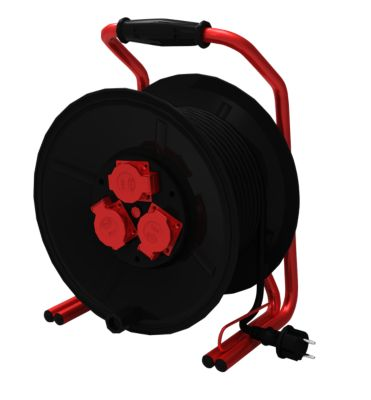 ROWI Kunststoff-Kabeltrommel mit Doppelrohrgestell und Non-Twist-System 40 m   Baumarkt > Elektroinstallation > Verlängerungskabel   Kunststoff   ROWI electronics