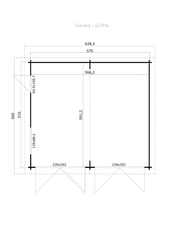 Doppelgarage abmessungen  Lasita Maja Gartenhaus Falkland, 28,4 m², großzügige Doppelgarage ...