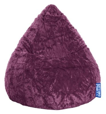 Sitting Point by MAGMA Fluffy, 120 Liter indoor Sitzsack aubergine