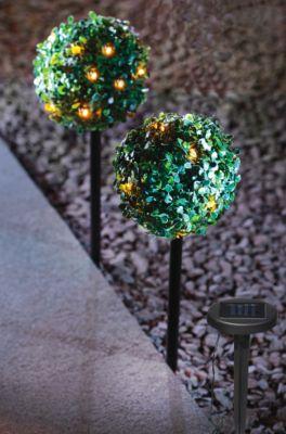 Buchsbaumkugel mit Solarlichterkette, 2er-Set