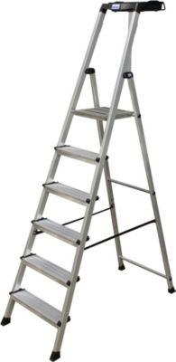 Krause Stufen-StehLeiter Secury mit MultiGrip System 6 Stufen | Baumarkt > Leitern und Treppen > Stehleiter | Aluminium | krause