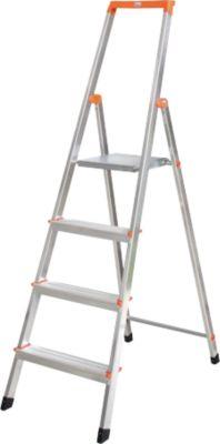 Krause Stufen-StehLeiter Solidy 4 Stufen   Baumarkt > Leitern und Treppen > Stehleiter   Aluminium   krause