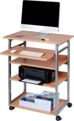Computertisch SYSTEM COMPUTER TROLLEY 75 VH, silber/buche