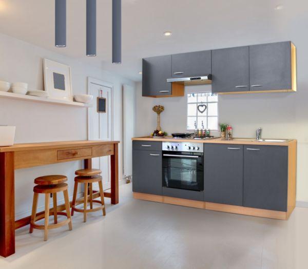 respekta küchenzeile kb210bbe 210 cm buche nachbildung küche