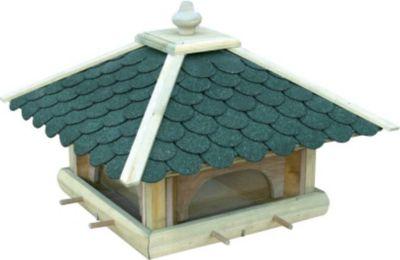 Dobar  Futterhaus mit grünen Bitumenschindeln, Anflugstangen, 4 Futterbehälter