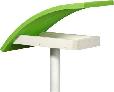 """LUXUS VOGELHAUS Design-Vogelfutterhaus """"New Wave"""" in weiß mit hellgrünem Dach, inkl. Ständer"""
